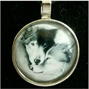 Two Wolves Cabochon Pendant  Necklace 2